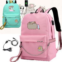 IMIDO Cute Fat Cat Backpacks for Girls Back to School Shoulders Backpack Usb Charging Canvas Travel Bag Teenagers Laptop Bags