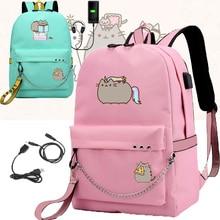 IMIDO Nette Fett Katze Rucksäcke für Mädchen Zurück zu Schule Schultern Rucksack Usb Lade Leinwand Reisetasche Jugendliche Laptop Taschen