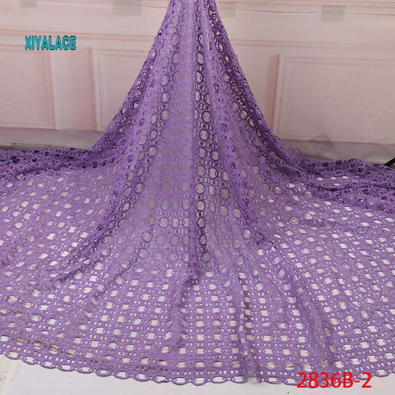 African Lace Fabric Purple African Cord Lace Fabric High Quality Cord Guipure Lace Fabric Nigerian Wedding Lace Fabric YA2836B-2