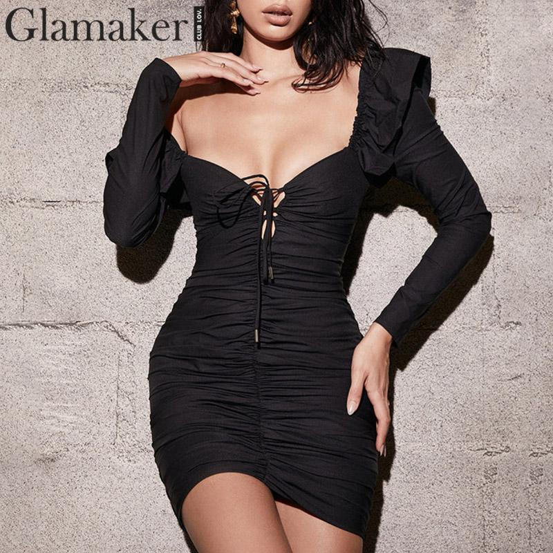 Glamaker Black V Neck Bodycon Bandage Sexy Short Dress Women Puff Sleeve Autumn Dress Elegant Female Vintage Party Dress Winter