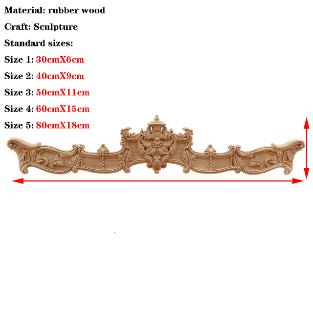 RUNBAZEF  European Wood Carving Home Wholesale Multi-specification Door Cabinets Wood Applique Decoration Long Decals Natural 3