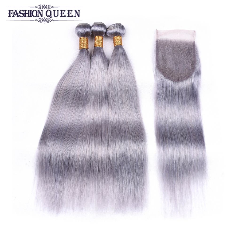 Silver Grey Bundles With Closure Remy Brazilian Straight Hair With Closure Human Hair Bundles With Lace Closure 4*4