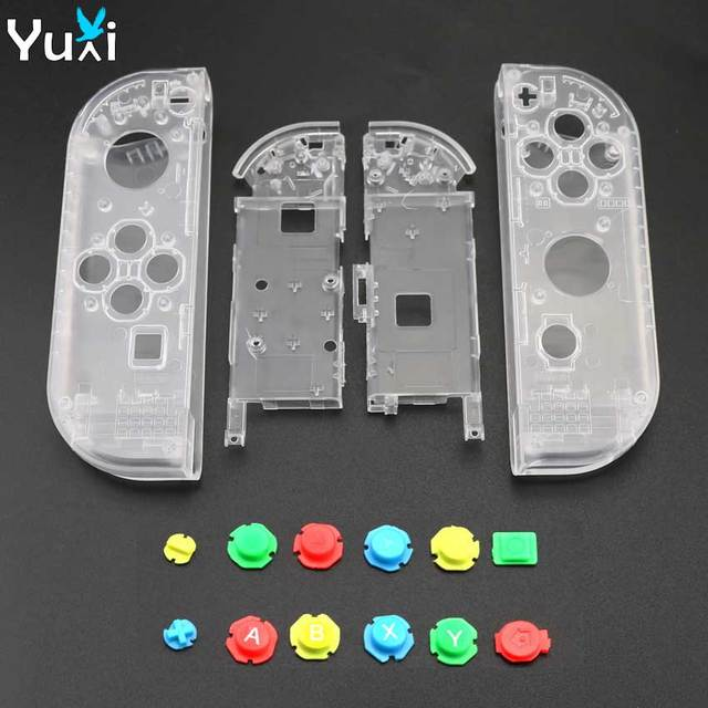 YuXi Clear White Plastic L R Housing Case Cover for Nintend Switch NS NX Joy Con Console Shell Replacement Parts