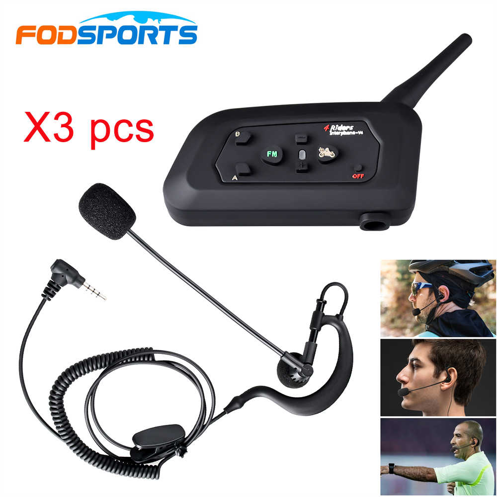 3 pièces V4 Fodsports FM 1200M étanche Interphone Bluetooth Interphone 4 coureurs parlant pour le juge arbitre de Football