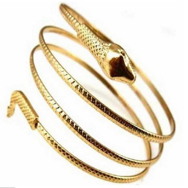 פאנק בציר אופנה מוגזם נחש בצורת צמיד צמיד לנשים גברים כבד מתכת תכשיטי רב שכבתי מפותל Barcelets