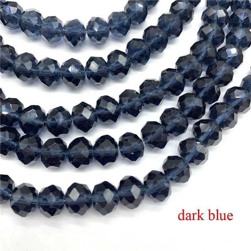 3X4/4X6/6X8/8X10 мм хрустальные бусины Рондель стеклянные бусины граненые хрустальные бусины для изготовления ювелирных изделий Аксессуары перевод Diy - Цвет: Dark Blue
