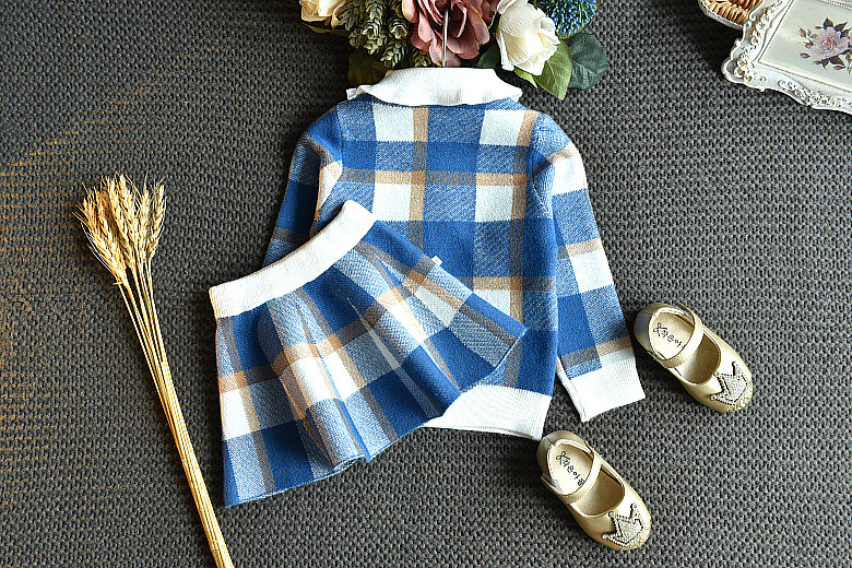 Baby Girls Winter Clothes Set Christmas Outfits Kids Girls Plaid Knit Sweater&skirt Fall Girl Clothing Set Children Costume 12
