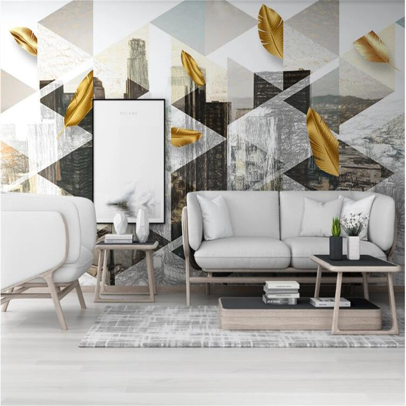 Large 3D Wallpaper Mural Custom Nordic Hand-painted Urban Architecture Golden Leaf TV Sofa Background Wallpaper Mural