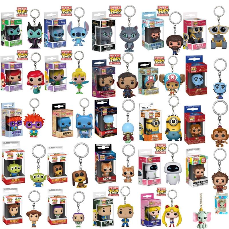 FUNKO POP Cartoon Pocket Keychain Stitch Mermaid Doctor Strange Wall-E Woody Stan Lee Figure Toys For Children Christmas Gift