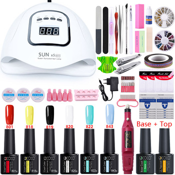 Nail Set 80W UV LED LAMP Dryer for Manicure Nail Gel Polish Set Kit Electric Nail Drill Machine Manicure Set Nail Art Tools File 1set nail drill bits set nail art polish manicure pedicure machine nail brushes gel nails polish remover makeup tool kit eu plug
