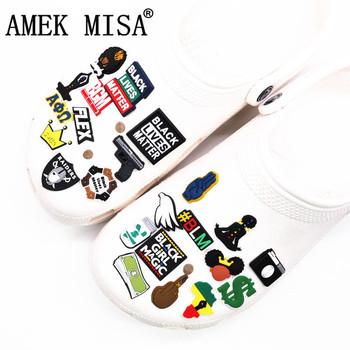 Czarna dziewczyna magiczne buty wisiorki akcesoria czarne życie materia BGM BLM Dollar dekoracja butów dla croc jibz Kids Party x-mas prezenty tanie i dobre opinie AMEK MISA CN (pochodzenie) Ozdoby do butów Urocza Dong-HMFNV23 Black Girl Magic Black Lives Matter BGM BLM Dollar
