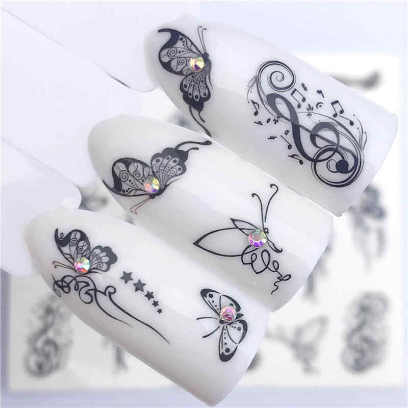 Yzwle 1 PC Panas Stiker Kuku Kupu-kupu Hitam Catatan Beauty Water Transfer Stamping Nail Art Tips Dekorasi Kuku Manikur Decal