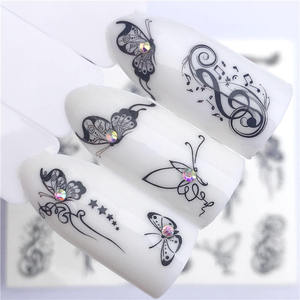 YZWLE 1 PC Hot Nail Sticker Black Butterfly Note Beauty Water Transfer Stamping Nail Art Tips Nail Decor Manicure Decal(China)