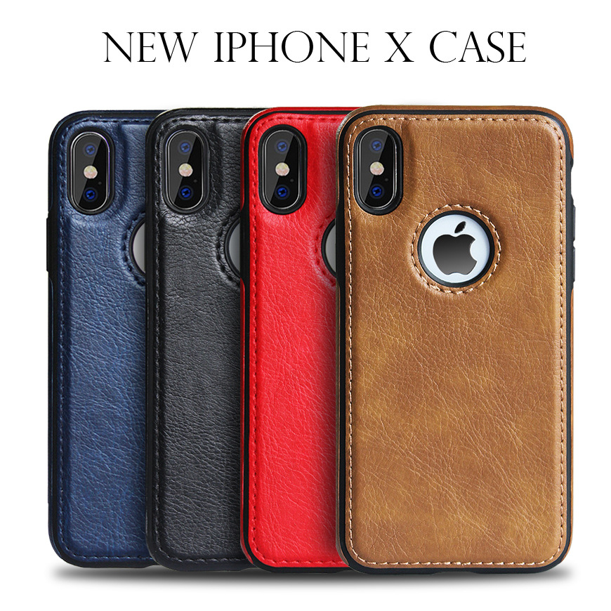 <font><b>Leather</b></font> Stitching Phone Back <font><b>Case</b></font> For <font><b>iPhone</b></font> X XR XS MAX 6 6S 7 <font><b>8</b></font> Plus <font><b>Case</b></font> With <font><b>Logo</b></font> Hole Soft Anti-fall Back Cover New Fashion image