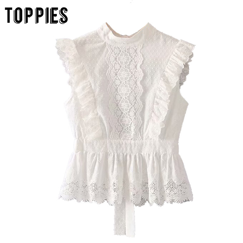 Summer Tops Women White Lace Blouses Back Hollow Out Embroidery Tops Vacation Sleeveless Shirts