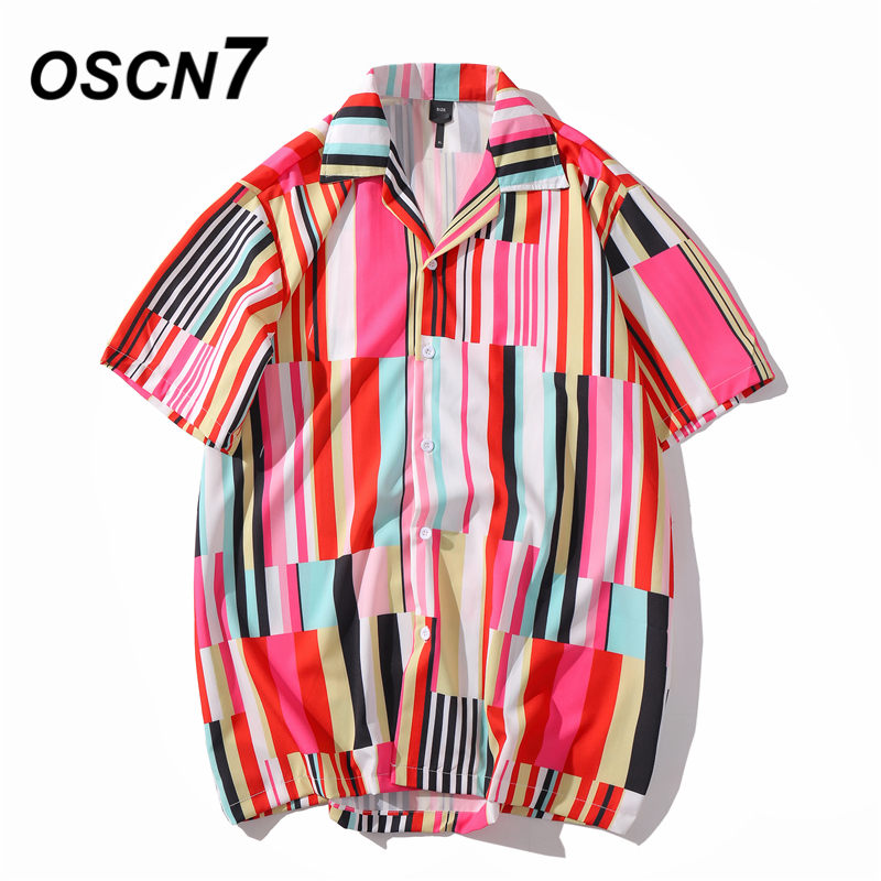 OSCN7 Casual Stripe Printed Short Sleeve Shirt Men Street 2020 Hawaii Beach Oversize Women Fashion Harujuku Shirts For Men XQ91