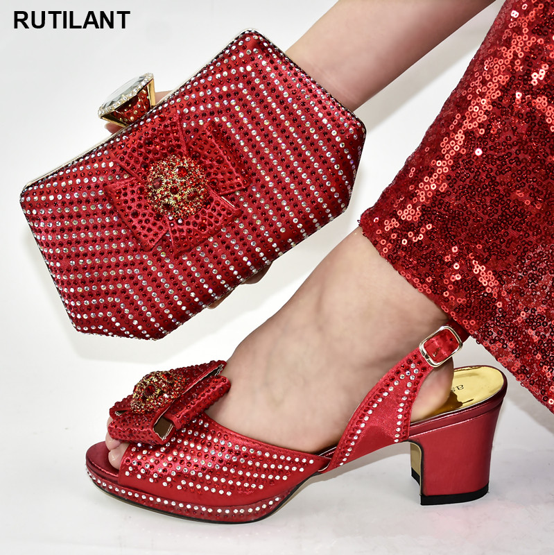 Latest Design Red African Italian Shoes And Bag Set Decorated With Rhinestone Italy Shoes And Bag Sets Shoes For Summer Women