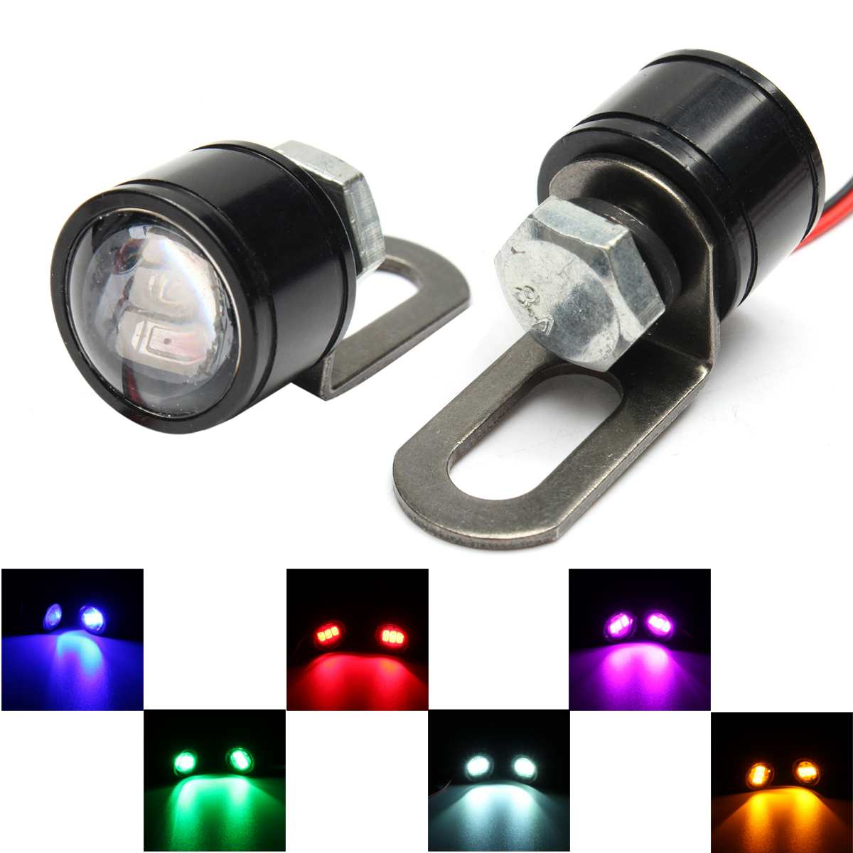 Pair Motorcycle LED Light Bulbs 12V Rearview Mirror Flashing Blinker Lamps 3LED Lamp Bulb Universal