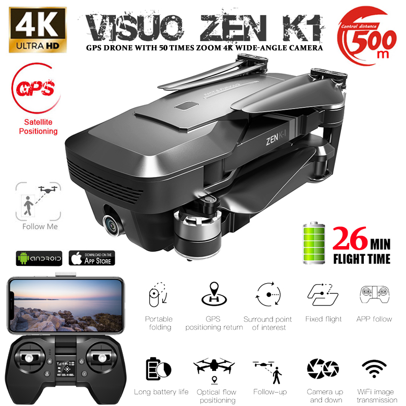VISUO ZEN K1 RC Drone GPS 5G WIFI Brushless 50X Zoom Dual Camera 4K 26mins Flight Times Beauty Filter Figure RC Quadcopter Drone
