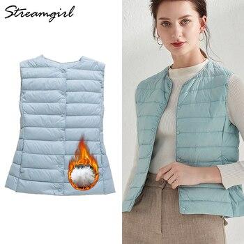 Duck Down Vest Women Outerwear Ultra Light Jacket Women 2019 Sleeveless Ultra Thin Down Jacket Female Women's Warm Vest Winter 1