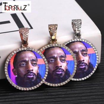 Custom Photo Memory Medallions Solid Pendant Necklace With Tennis Chain Hip Hop Jewelry Personalized Cubic Zircon Chains Gift