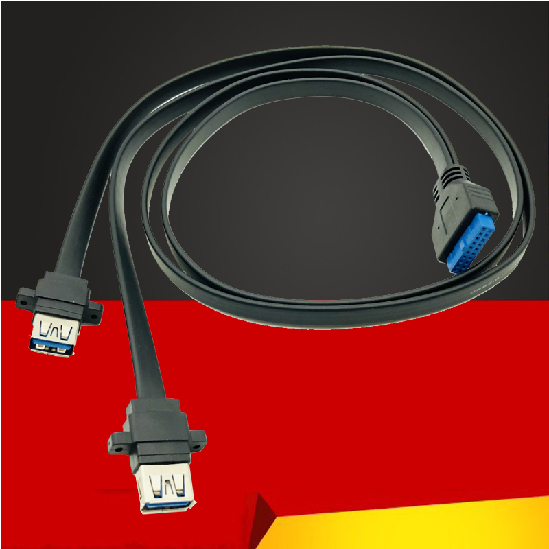 QINDIAN Connector <font><b>USB</b></font> <font><b>3.0</b></font> <font><b>Panel</b></font> <font><b>Mount</b></font> Dual Port <font><b>USB</b></font> <font><b>3.0</b></font> Female Screw <font><b>Panel</b></font> <font><b>Mount</b></font> to Motherboard 20Pin Header Flat Cable Cord NEW image