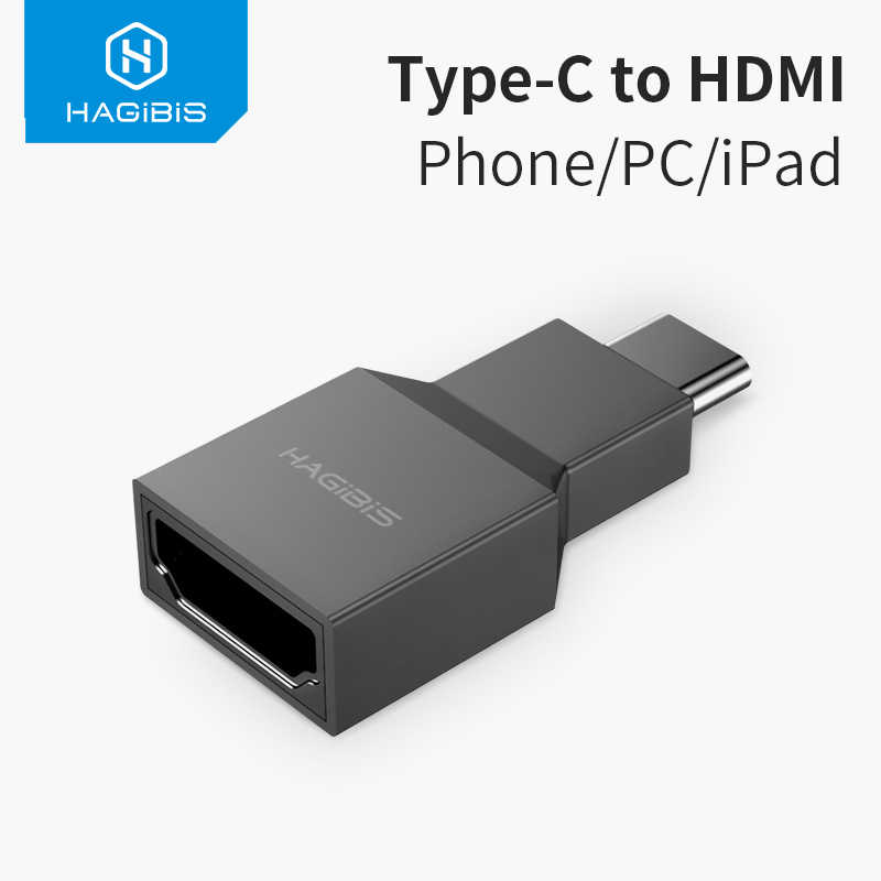 Hagibis Usb C untuk HDMI Adaptor TYPE C Male TO HDMI Female Converter 4K @ 30Hz HD untuk Macbook samsung GALAXY S10 Huawei P30 iPad Pro