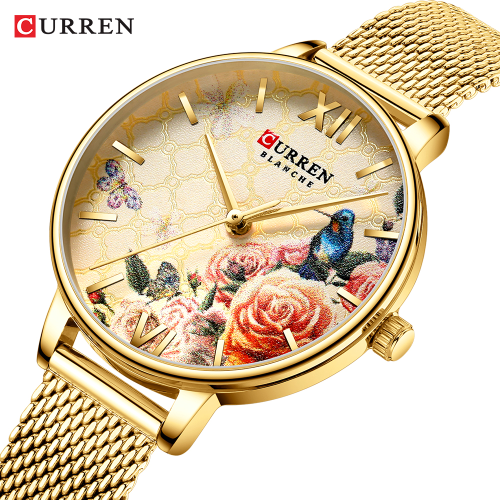 Gold Tone Womens Watches Luxury Brand Curren Quartz Watch Women Stainless Steel Bracelet 3D Flower Dial Fashion Lady Wristwatch