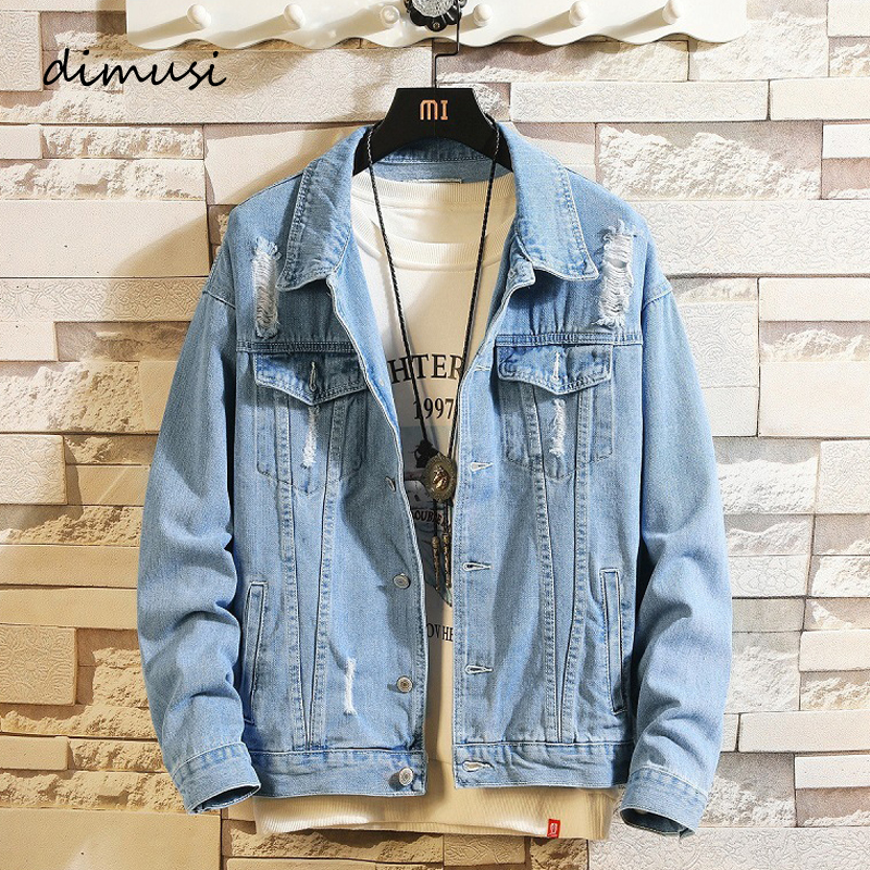 DIMUSI Men's Denim Jackets Fashion Male Trendy Ripped Denim Bomber Coats Men Outwear Windbreaker Cowboy Jean Jackets Clothing