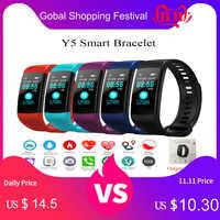 Tonbux Y5 Smart Banda Heart Rate Tracker Inseguitore di Fitness Y5 Smartband Braccialetto Intelligente Impermeabile Intelligente Wristband Intelligente Della Vigilanza Degli Uomini