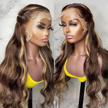 Парик из 4/27 бразильских волнистых волос, парик из человеческих волос с перехлёстом, медовый, светлый, Омбре, парик на сетке спереди, Реми для ...