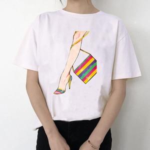 High Heels Shoes Print Tshirt Basic Sexy Vintage O-Neck Gothic Female Women's T-Shirt Fashion Summer Casual Streetwear Tops Tee
