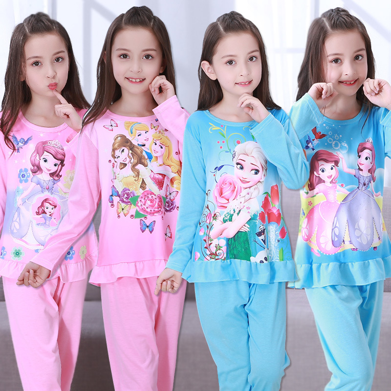 Girls Pajamas Anna Elsa Clothing Sets Kids Long Sleeve Cartoon Home Clothes Girl Sleepwear Suit Children Clothing Girl Nightgown