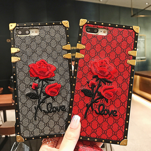 Image 1 - Luxury Square Embroidery Rose Phone Cases For Xiaomi Mi 10 Redmi 7 7A 8 8A 9 10x K20 Redmi Note 7 8 9 9T 9s PRO PU Leather Cover