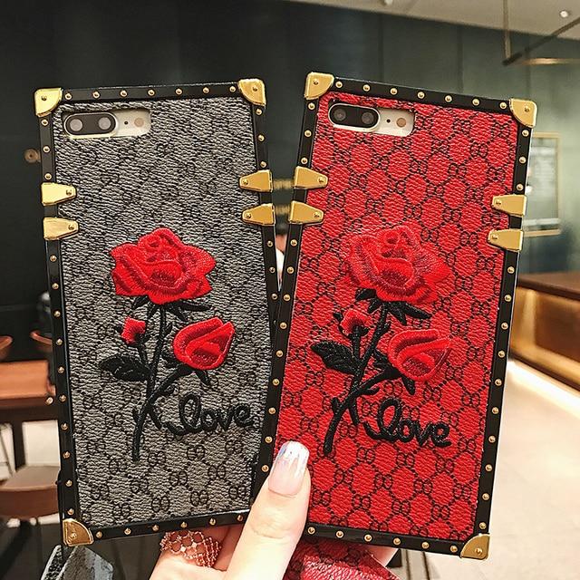 Luxury Square Embroidery Rose Phone Cases For Xiaomi Mi 10 Redmi 7 7A 8 8A 9 10x K20 Redmi Note 7 8 9 9T 9s PRO PU Leather Cover