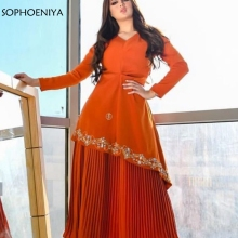 Gown Evening-Dresses Satin Long-Sleeve Muslim Orange Plus-Size V-Neck Vestidos-De-Festa