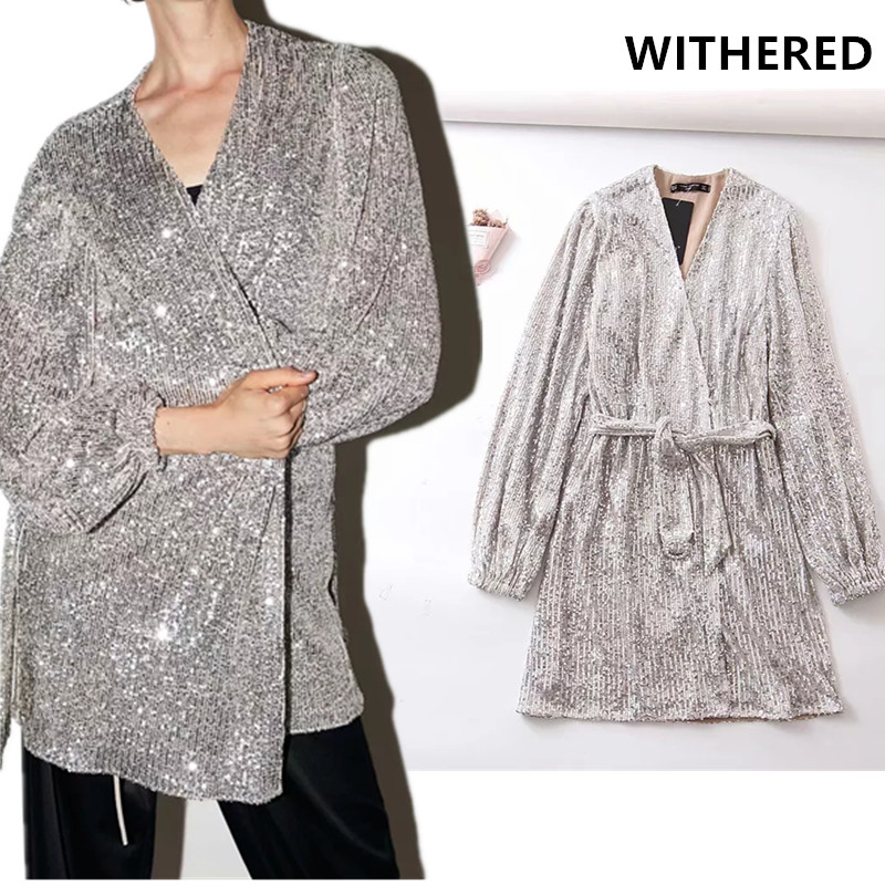 Withered England Vintage Sequins V-neck Sashes Vestidos De Fiesta De Noche Christmas Party Sexy Dress Women Vestidos Blazer Tops