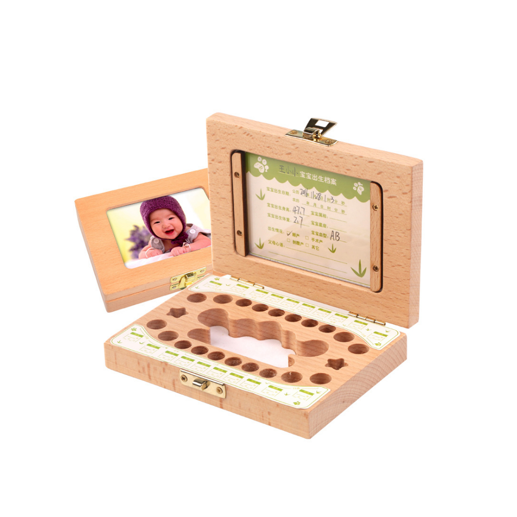 Simple Style Wooden Children's Photo Frame Deciduous Tooth Preservation Box Baby Newborn Teeth Collection Growth Memorial Box