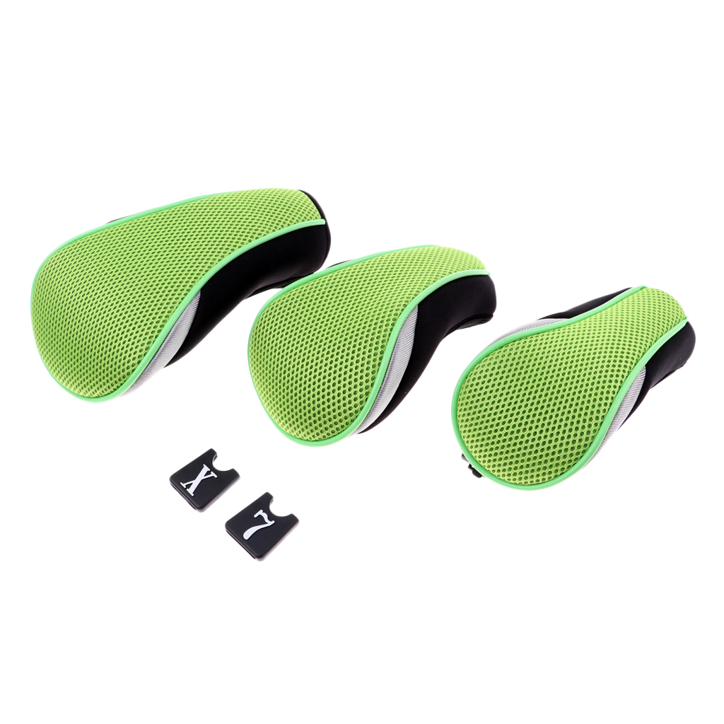 3 Pieces Golf Clubs Head Covers 1 3 5 7 X Green Wood Rescue Headcover Universal Club Headcovers
