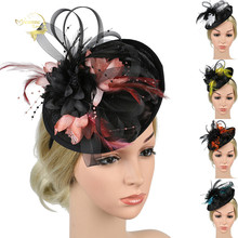 Girl Mesh Hats Women Fascinator Big Flower Hair Clip Feather Lady Wedding Headwear Hat Party Bridal Headpiece New