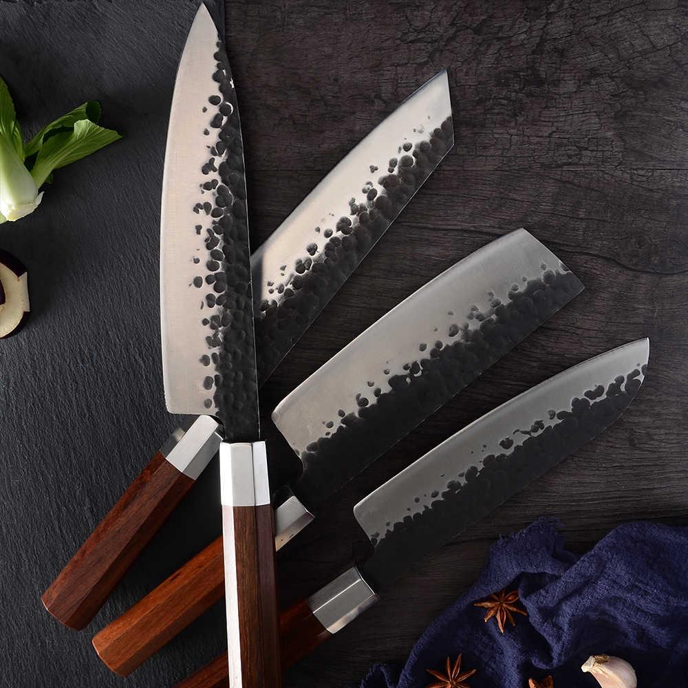 SOWOLL Handmade ปลอมครัวมีดชุดใหม่เซอร์เบียมีด Chef สับ Santoku มีดหนัง Sheath เครื่องมือ