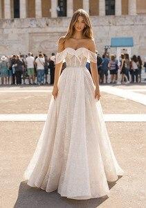 Image 1 - Berta robe de mariée en dentelle brillante avec col mignon, robe de mariée portefeuille, photo réelle, HA105