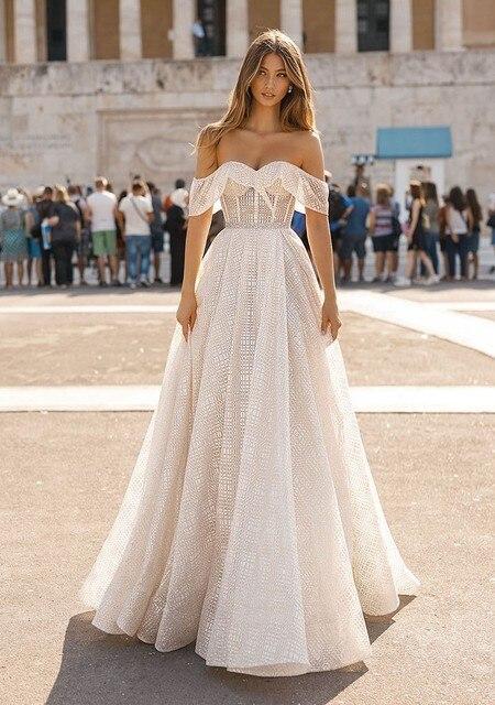 Berta robe de mariée en dentelle brillante avec col mignon, robe de mariée portefeuille, photo réelle, HA105