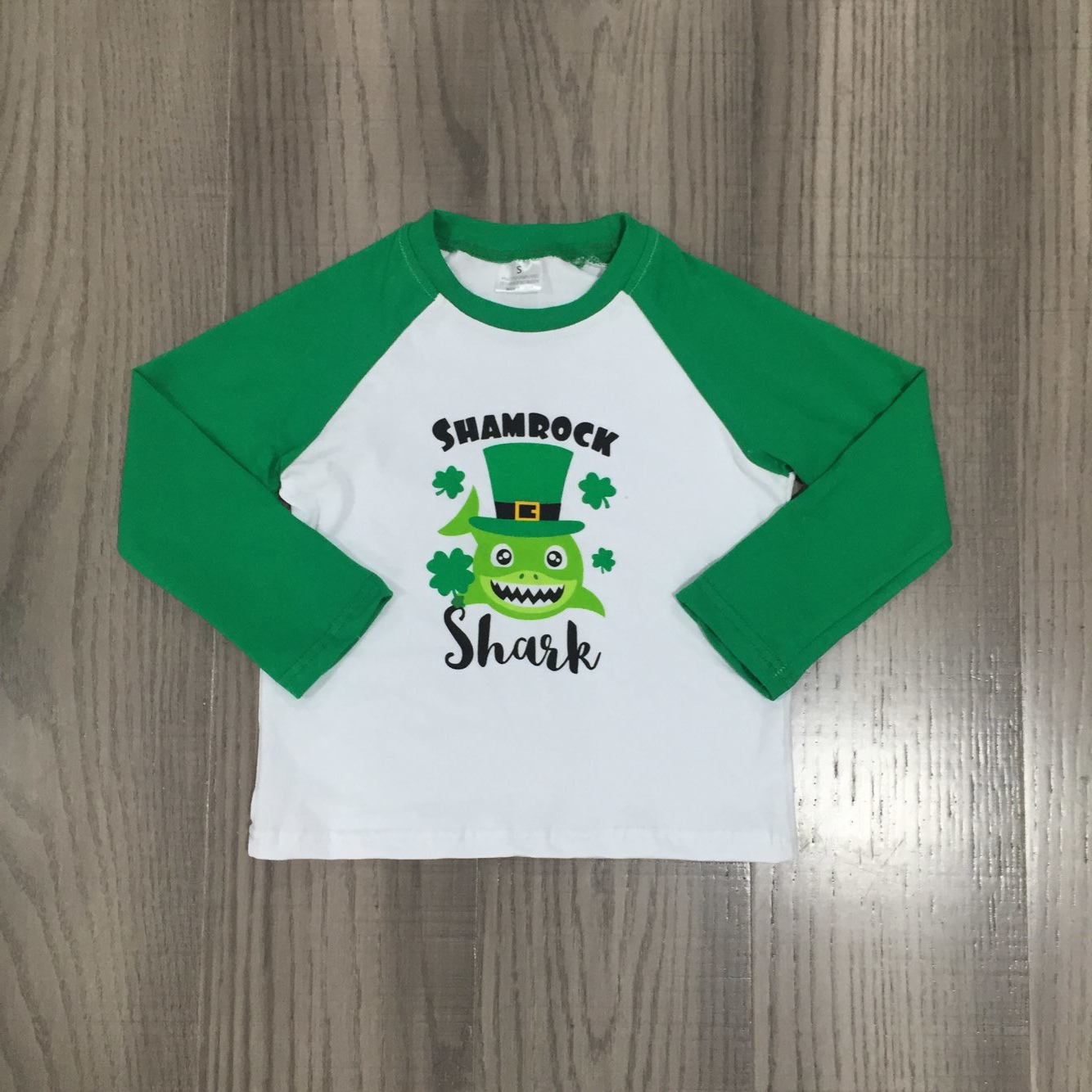 Girlymax Spring St Patrick Baby Boys Long Sleeve Cotton Boutique Top T-shirt Raglans Clothes Lucky Shark Shamrocks Clover 3