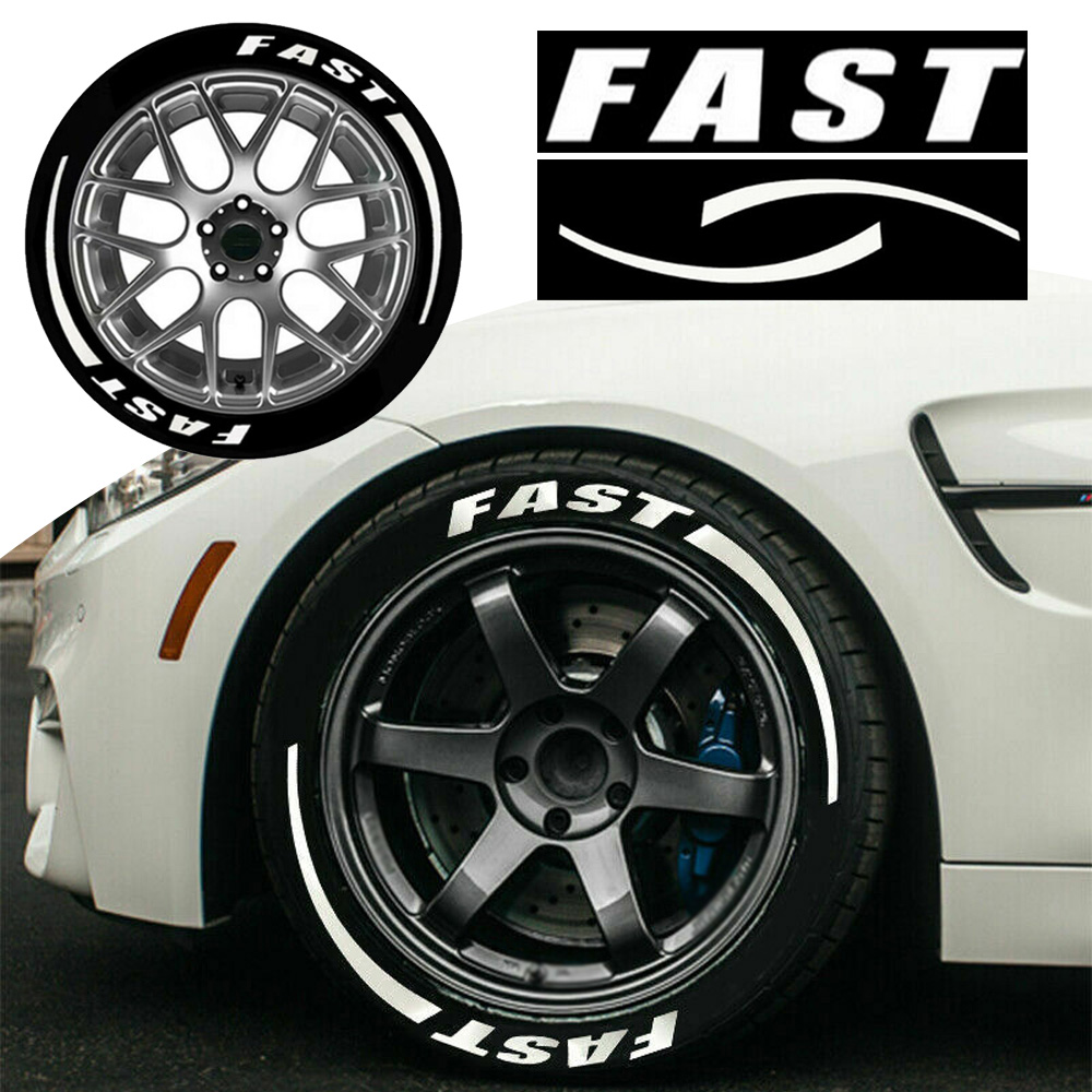 """Exterior Tire Stickers 3D FAST logo Decoration Wraps Strip Accessories For 15"""" 16"""" 17"""" 18"""" 19"""" 20"""" 21"""" 22"""" Tires Car Stickers"""
