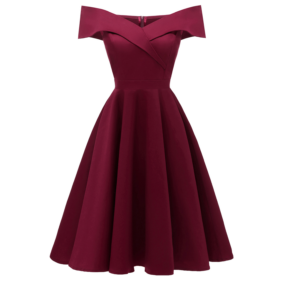 Dressv burgundy cocktail dress cheap off the shoulder short sleeves graduation party dress elegant fashion cocktail dress