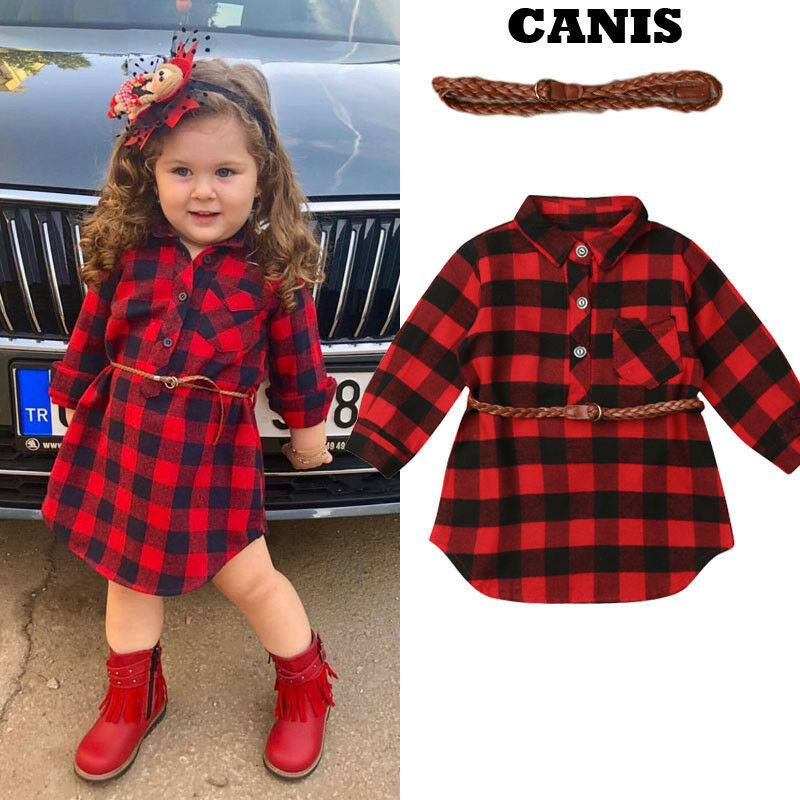 2Pcs Plaid Toddler Kids Baby <font><b>Girl</b></font> Outfit Clothes <font><b>T</b></font> <font><b>Shirt</b></font> Top <font><b>Dress</b></font> Belt Set image