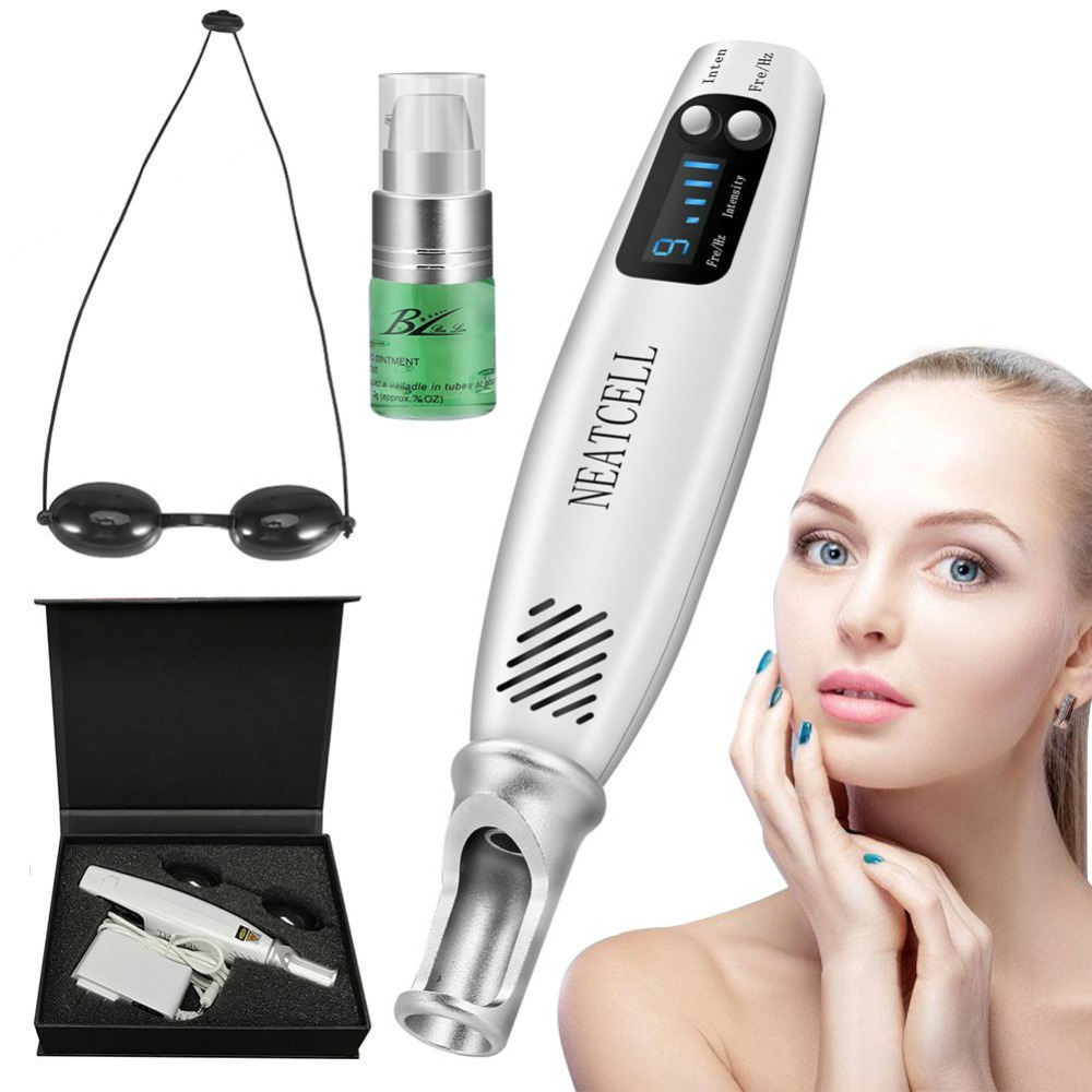 Newest Laser Pen Spot Remover Machine Red Blue Light Therapy Tattoo Scar Mole Freckle Removal With Repair Cream Skin Care