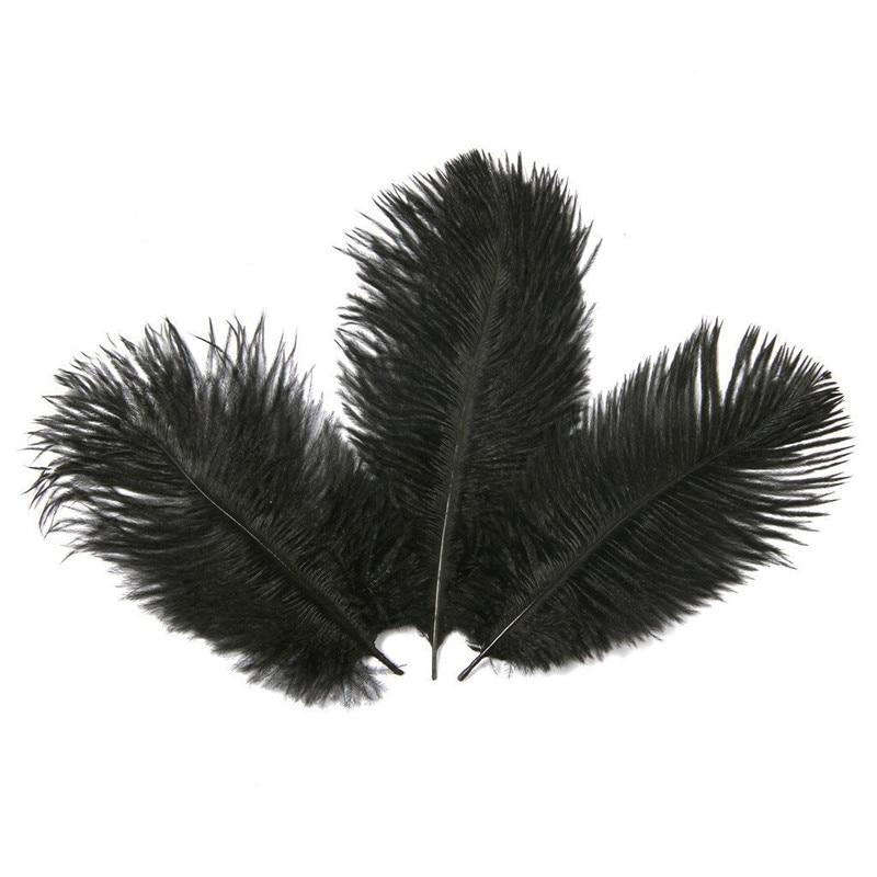 "10Pcs/Lot Black Ostrich Feathers for Crafts 15-70cm/6-28"" Ostrich Feather Decoration Wedding Feather Decoration Plumas Carnaval"