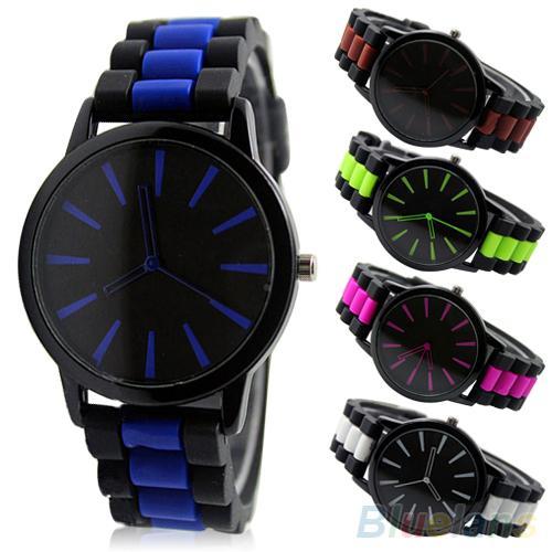 Women's Men's Simple Silicone Band Jelly Gel Quartz Analog Sports Wrist Watch Lovers Watch Male Female Пара смотреть 커플 시계